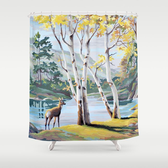 Paint By Numbers Deer Woodland Scene Shower Curtain
