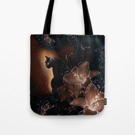Black Kitty Halloween Tote Bag