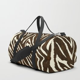 ANIMAL PRINT ZEBRA IN WINTER 2 BROWN AND BEIGE Duffle Bag
