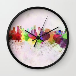 Mississauga skyline in watercolor background Wall Clock
