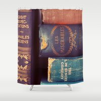 reading Shower Curtains featuring Sunday Reading by elle moss
