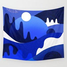 Terrazzo landscape blue night Wall Tapestry