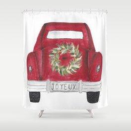 Joyeux Red Car Shower Curtain