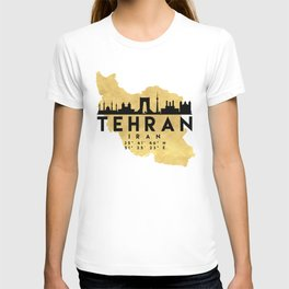 TEHRAN IRAN SILHOUETTE SKYLINE MAP ART T-shirt