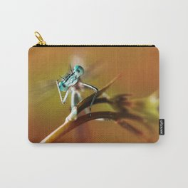 Blue dragonfly on pink flower Carry-All Pouch