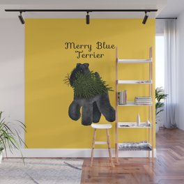 Merry Blue Terrier (Yellow Background) Wall Mural