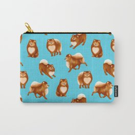 Pomeranian Pattern (Blue Background) Carry-All Pouch