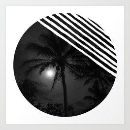 Moon behind the palm Art Print