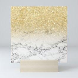 Modern faux gold glitter white marble color block Mini Art Print