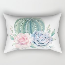 Cactus Rose Succulents Rectangular Pillow
