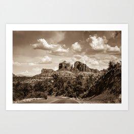 Sedona Arizona Sepia Landscape - Cathedral Rock Art Print