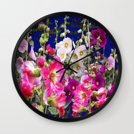 PURPLE-PINK HOLLYHOCKS FLORAL BLUE GARDEN Wall Clock