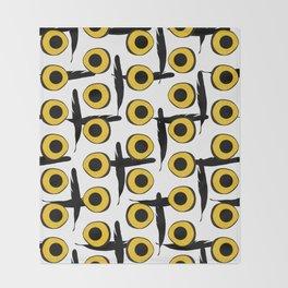 Snowy Owl Eyes Feathers Pattern Throw Blanket