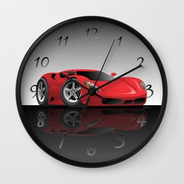 Red Hot Sports Car Cartoon Wall Clock