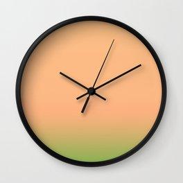 Melon   Pastel orange and green gradient Wall Clock