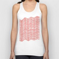 coral Tank Tops featuring Coral Herringbone by Cat Coquillette