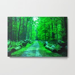 Forest Road - Oil painting - Green hue Metal Print