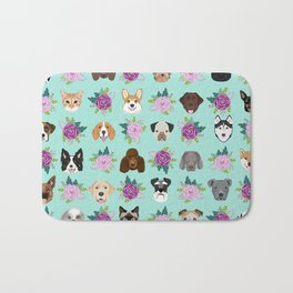 Dogs and cats pet friendly floral animal lover gifts dog breeds cat ladies Bath Mat