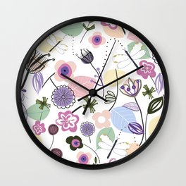 Abstract flowers and dragonfly pastel colored floral spring pattern Wall Clock