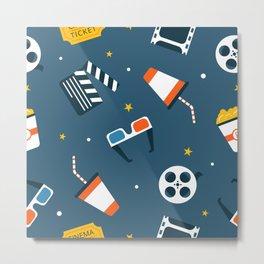 Movie Night Whimsical Pattern Metal Print