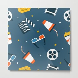 Movie Night Whimsical Pattern Metal Print