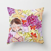 abigail larson Throw Pillows featuring Abigail by Allison Weeks Thomas