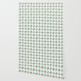 Amphibians Hopping Houndstooth Pattern Wallpaper