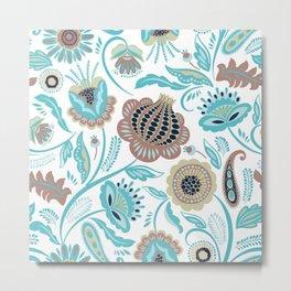 Colorful exotic folk flowers pattern Metal Print