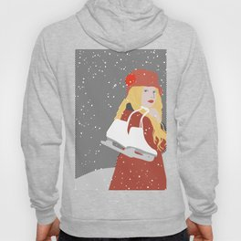 Winter Snow Ice Skater (flat graphics) Hoody