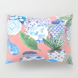 Coral pink Chinoiserie Chinese ginger jars... Pillow Sham