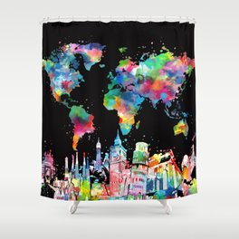 world map city skyline 3 Shower Curtain