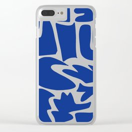 Blue shapes on white background Clear iPhone Case