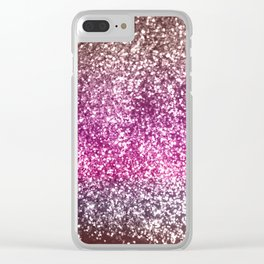 Sparkling BROWN PINK PURPLE Lady Glitter #1 #shiny #decor #art #society6 Clear iPhone Case