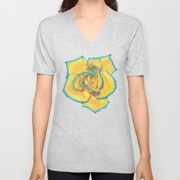 Yellow and Turquoise Rose Unisex V-Neck