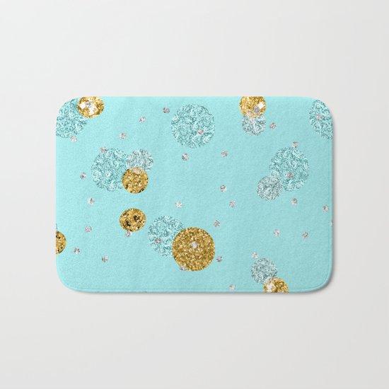 Treasures on aqua - Gold glitter polkadots on turquoise background Bath Mat