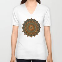 moroccan V-neck T-shirts featuring Moroccan sun by Awispa