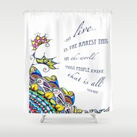 oscar wilde Shower Curtains featuring Abstract Inspirational Quote by Oscar Wilde by Kate McKinney