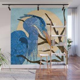 Egret Sun Wall Mural