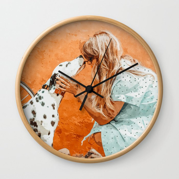 Pet Bound #pets #animals #animalslover #painting Wall Clock