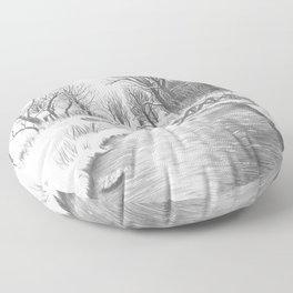 Snowy Landscape Floor Pillow