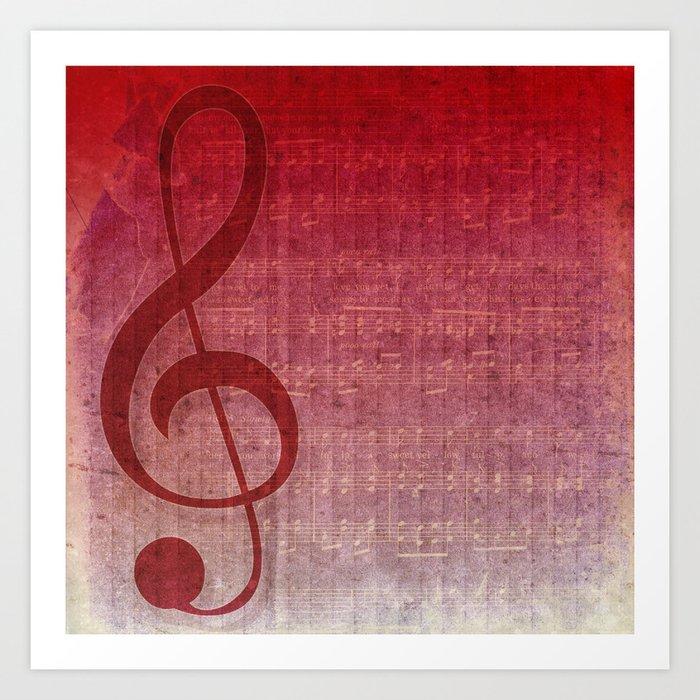 Red Pink Grunge Music Sounds Art Print