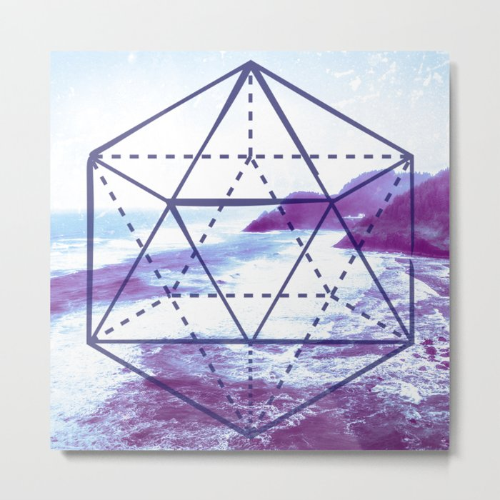 The Elements Geometric Nature Element of Water Metal Print