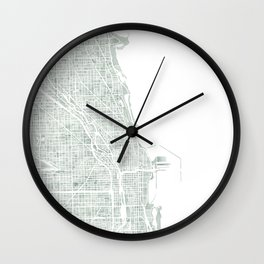 Map Chicago city watercolor map Wall Clock