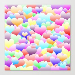 Bubble Hearts Light Canvas Print