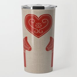 Red Dala Horses on Burlap Travel Mug