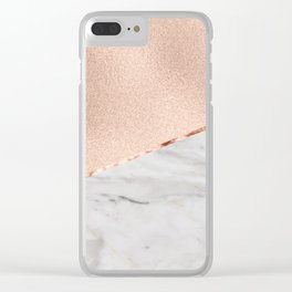 St Tropez rose gold marble Clear iPhone Case