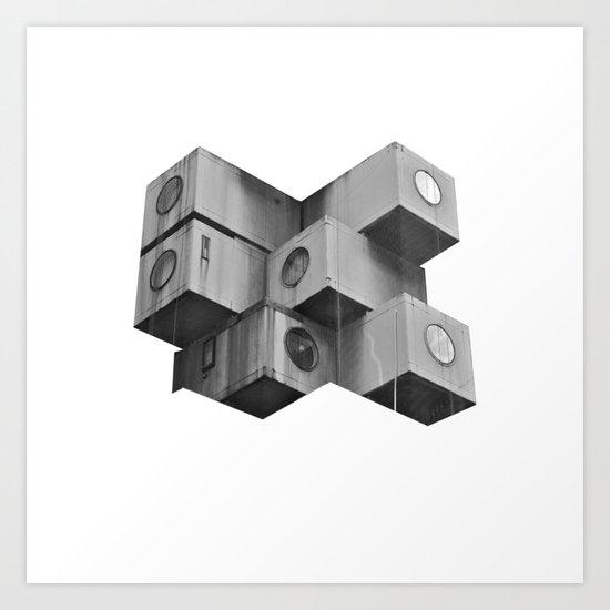 Architecture futur grey Art Print