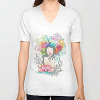 lotus V-neck T-shirts featuring Lotus. by Cloe