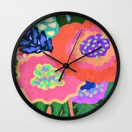 Blooming Abstract Digital Floral Painting Wall Clock