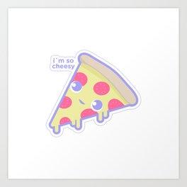 Cute cheesy pizza Art Print